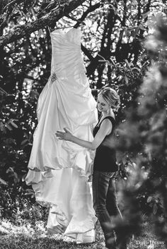 Leesh admiring her wedding dress | Mali Brae Farm