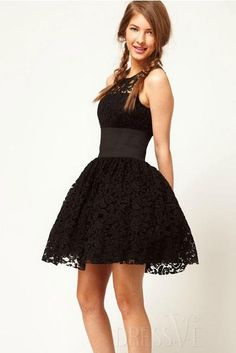 Shop High Quality Lovely Sleeveless Lace Bubble Skirt Dress At Dressve.Com, And The Price Is Low Only At US$33.99