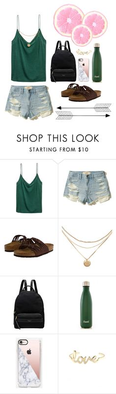 """Wednesday"" by zoe-gertler ❤ liked on Polyvore featuring H&M, Hollister Co., Birkenstock, Radley, S'well, Casetify and Bend"