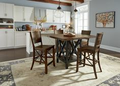 Carpenter 5 Piece Counter Height Dining Set with X Motif by Flexsteel Wynwood Collection at Pilgrim Furniture City Large Furniture, Dining Furniture, Dining Room Table, Kitchen Dining, Dining Rooms, Kitchen Tables, Patio Bar Set, Pub Table Sets, Table And Chair Sets