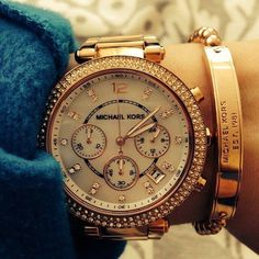 Michael Kors watch & bracelet! blingy!