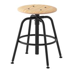 "IKEA - KULLABERG, Stool, pine/black, , You sit comfortably, because the stool can be easily adjusted to 5 different heights approximately 18, 21, 22, 25, and 27"".Adjustable feet for increased stability on uneven floors.The metal ring underneath can be used as a footrest."