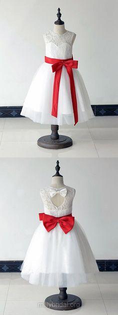 White Flower Girl Dresses  Lace, Cheap Junior Bridesmaid Dresses Cute, Toddler Flower Girl Dresses For Less https://presentbaby.com