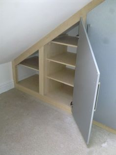 Our fitted furniture is constructed to fit angled ceilings. We design and build the right fitted furniture for your loft conversion. Loft Closet, Build A Closet, Garage Loft, Loft Room, Attic Bedroom Closets, Attic Bedroom Designs, Bedroom Loft, Attic Rooms, Fitted Bedroom Furniture