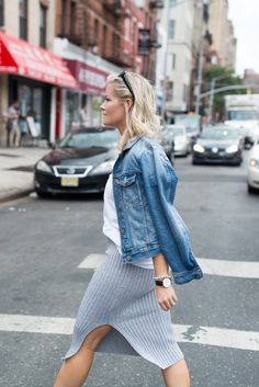 Afternoon-Espresso Blogger, Ashley Pletcher, explores the city during New York Fashion Week wearing Asos Knitted Skirt, Madewell Tee and a Denim Jacket