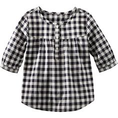 Gingham Poplin Top ($14) ❤ liked on Polyvore featuring baby girl