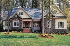 Country Style House Plan - 4 Beds 3 Baths 2097 Sq/Ft Plan #929-9 - Houseplans.com Country Style House Plans, Cottage House Plans, Country Style Homes, Cottage Style, Garage Exterior, Exterior Cladding, Exterior Color Schemes, Exterior House Colors, Rendered Houses