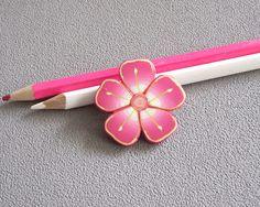 Broche fleur rose broche pâte polymère fimo broche rose vert