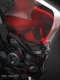 Exo-Helmet Concept by ahmed maihope on Artstation Spaceship Design, Robot Design, Cyberpunk 2077, Helmet Armor, Futuristic Armour, Sci Fi Armor, Future Soldier, Robot Concept Art, Cyborgs