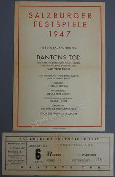 Von Einem, Gottfried - Fricsay, Ferenc - Final Rehearsal World Premiere Program Dantons Tod by von Einem Program 1947 Salburg Festival