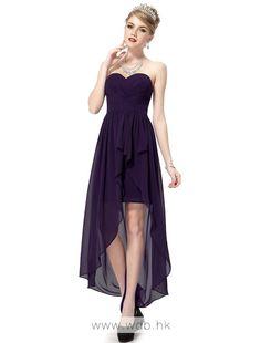 Flutter ruching strapless sweetheart high-low chiffon dress   $114.59