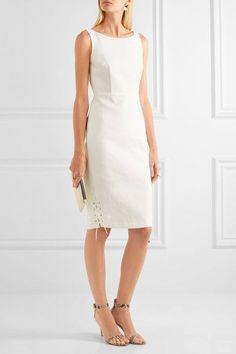 Max Mara - Lace-up Cotton-twill Dress - Ivory - UK16