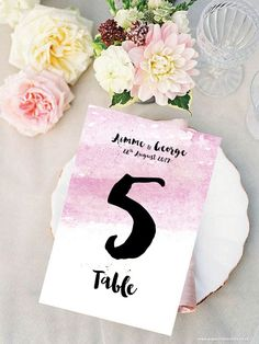 Pink Blue and Purple Table Numbers - Watercolour Table Numbers - Watercolour Celebration Table Numbers by Paper Charms #Pink #Wedding #PinkWedding #Paper