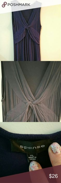 Navy soft stretchy maxi dress Sleeveless stretchy maxi dress with flattering knot detail at the chest. Measures about 52 inches from shoulder to hem. Easy to style for all seasons.  Throw on with sandals in summer or add a cardigan and scarf for spring or fall.  Great for maternity, very flexible sizing.  Great used condition. Spense Dresses Maxi