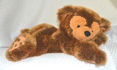 "Pre Duffy Laying Hidden Mickey Brown Frosted Bear Walt Disney World 18""  #Disney"
