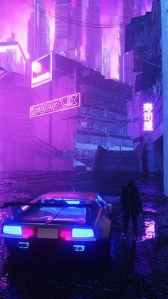 Download Wallpaper 1080x1920 Neon, Car, Silhouette, Street