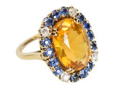 Impact - Citrine Sapphire Diamond Ring - The Three Graces