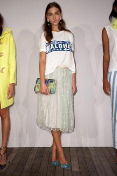 J. Crew Collection Spring 2014 / graphic tee + feminine skirt + printed heels = SO GOOD.