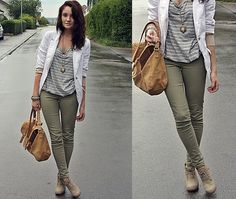 Olive pants, grey stripes, white soft blazer, tan shoes.