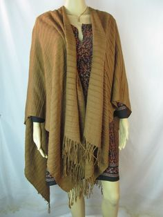 Womens OS Brown Fringe Sweater Poncho Jacket Coat Scarf S M L XL 1X 2X #Unknown #Poncho