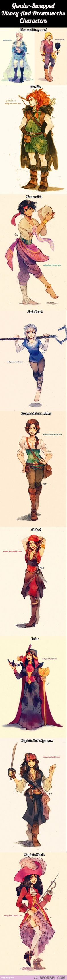 10 Gender-Swapped Disney And Dreamworks Characters…