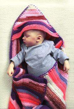 Crocheted hooded striped baby blanket by mikmakwinkel on Etsy