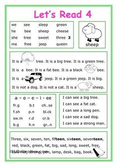 This worksheet is for Elementary school students at Beginner level who learn reading and their vocabulary is not too big. The worksheet is good for developing Reading and Writing skills with letters ee.There are 5 exercises for training. First Grade Reading Comprehension, Phonics Reading, Reading Comprehension Worksheets, Teaching Phonics, Phonics Worksheets, Kindergarten Reading, Kindergarten Worksheets, Teaching Reading, Printable Worksheets