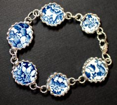 Bracelet, Broken China Jewelry, Blue and White Transferware, Sterling Silver