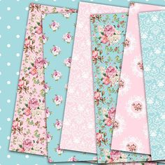 Floral paper pack pink and blue digital paper with pink