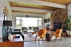 midcentury modern freestanding fireplace living room - Google Search