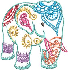 Mehndi Elephants Machine Embroidery Designs by JuJu - embroidery patterns Embroidery Store, Machine Embroidery Thread, Machine Embroidery Projects, Free Machine Embroidery Designs, Hand Embroidery Patterns, Ribbon Embroidery, Embroidery Art, Embroidery Stitches, Embroidery Jewelry