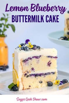 slice of lemon blueberry buttermilk cake on a plate with gold fork. Fresh berries and purple flowers on top cake Lemon blueberry buttermilk cake + lemon cream cheese frosting Brownie Desserts, Oreo Dessert, Mini Desserts, Blueberry Desserts, Blueberry Cake, Summer Desserts, Blueberry Frosting, Lemon Cream Cheese Frosting, Cake With Cream Cheese