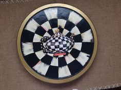 Whimsical Black and White Check Lazy Susan by EddiesGarden on Etsy
