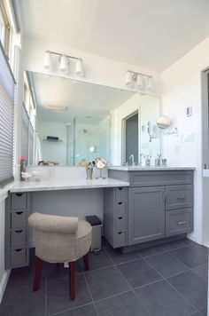 vanity and makeup area, love the stool