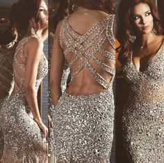 This #beautiful dress is a definite #showstopper. The champagne color and beautiful rhinestones will definitely make your #prom #dress unforgettable!