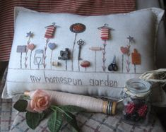 Any saying can be substituted and replaced on this pillow....or any pillow and may include a persons name.  This childhood-themed hand-made muslin needlework pillow salutes the carefree days of your youth. Bring the simple joys of butterflies and flowers back into your life! Size is approximately 12.5 x 8.