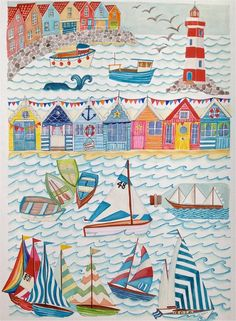 Nautical Seaside Illustration Sailing Boats & by LouiseThrop Abstract Illustration, Boat Illustration, Nautical Painting, Sailboat Painting, Seaside Art, Seaside Theme, Nautical Quilt, Nautical Theme, Beach Quilt