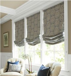 Relaxed roman shades w/ pattern