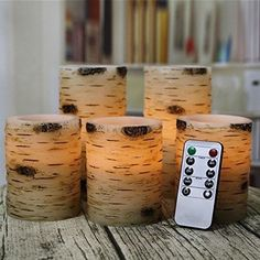 LED Pillar Candles Flameless Birch Bark Remote Battery Waxes Set Of 5 Ivory Flickering Lights, Flameless Candles, Pillar Candles, Birch Bark, Paraffin Wax, Burning Candle, Remote, 8 Hours, Shell