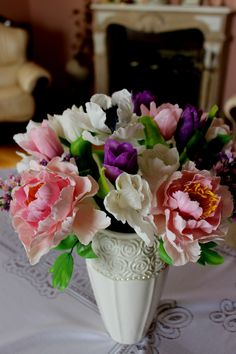 Flower Composition - Home Decoration - Bouquet of Flowers - Flower Arrangements - Cold porcelain handmade - Decor Ornament - Jewelrylimanska by Jewelrylimanska on Etsy