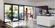contemporary Bi Fold Doors opening onto patio terrace garden lounge - Origin Easifold