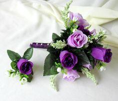 Lavender Bridesmaid Bouquets | Silk Bridal Bouquet Purple lavender roses wedding flowers groom ...