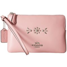 COACH Box Program Western Rivets Small Wristlet (SV/Pink) Wristlet... (4.450 RUB) ❤ liked on Polyvore featuring bags, handbags, clutches, zipper pouch, leather purses, leather zip pouch, leather handbags and military pouch