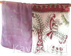 Silk sari scarf Colorful scarf Hand painted silk by KavitaKriti