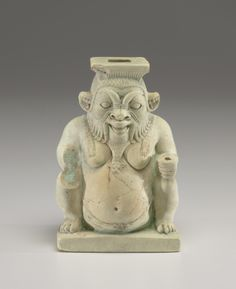 Egypt, Late Period, 26th Dynasty   (664-525 BC) -  Vessel in the Form of the God Bes