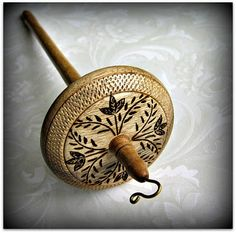 """Grizzly Mountain Arts: """"The Victorian"""" Myrtlewood Top Whorl Drop Spindle"""