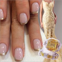 Steli's pink and gold French manicure, yellow lace gown and canary yellow CZ engagement ring and wedding band.