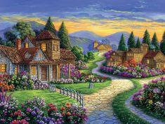 Beautiful Fantasy Art, Beautiful Paintings, Thomas Kinkade Art, Kinkade Paintings, Nature Sketch, Autumn Scenes, Cottage Art, Fantasy Landscape, Background Pictures