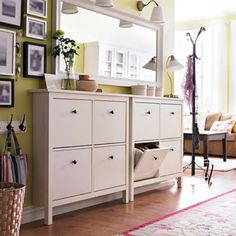 Double ikea hemnes for shoe storage in hallway at entrance.