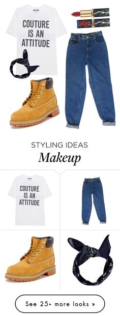 """Denim "" by mynameisjanestyle on Polyvore featuring Timberland, Moschino and Boohoo"